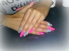 Pink and silver rhinestone oval nails