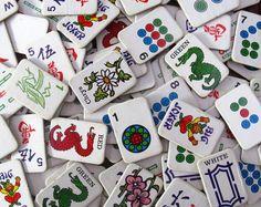 1975 cardboard mah jong pieces