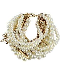 Gold Pearl Rivet Multilayers Bracelet 3.25