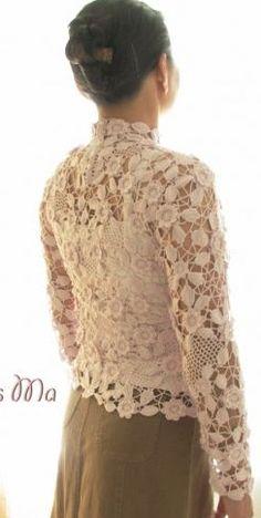 Irish crochet top, http://crochetricograficos.blogspot.com.br/2013/03/casaquinho-em-croche-irlandes_9.html