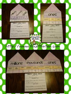 Place Value House/Block Math Craftivity! Can use used with numbers that have values in the millions, thousands, and ones place. :) Makes an awesome bulletin board!