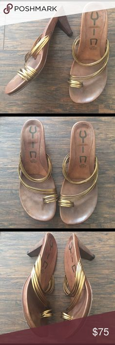 Anthropologie Yin heeled sandals Yin vero cuoio hand made in Italy size 39 Anthropologie Shoes Sandals