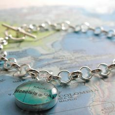 Vintage Map Toggle Sterling Silver Charm Bracelet. You Select Any Place in the World!