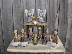Marian Ulc Christmas Nativity, Christmas Ornaments, Clay Owl, Christian Art, Tis The Season, Four Seasons, Decorative Bells, Folk Art, Xmas