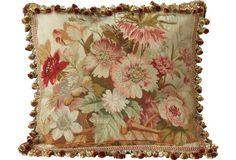 Antique French Floral Aubusson Pillow