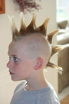 Baby Bowser In This Picture: Photo of kid with spiked mohawk