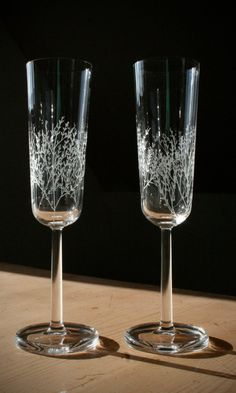 Hand Engraved Crystal Champagne Flutes - Lead Free Crystal - Wedding Glasses on Etsy, $34.41