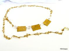 Hammered brass belt with crystal quartz stations by pzmdesigns, $59.00