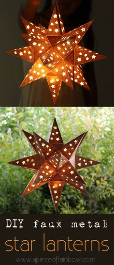 "DIY rusty ""metal"" star lantern is made with. Easy tutorial with free printable template to make your own! Fun Crafts, Diy And Crafts, Paper Crafts, Christmas Crafts, Christmas Decorations, Holiday Decor, Diy Projects To Try, Craft Projects, Deco Dyi"