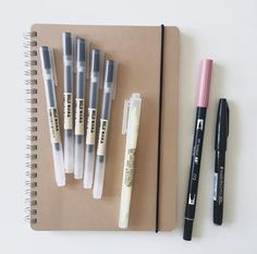 5 Muji Black Gel Pens, a Yellow Muji Twin-Tip Window Highlighter, a Muji Dotted Notebook, a Tombow Brush Pen in the color a Pentel Touch Calligraphy Pen 🤩🤩🤩🤩🤩 Muji Stationary, Stationary Items, Stationary School, School Stationery, Cute Stationery, Stationary Supplies, Stationery Shop, Art Supplies, Tittle Ideas