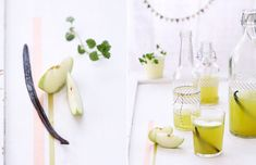 Fresh green apples juice with vanillia