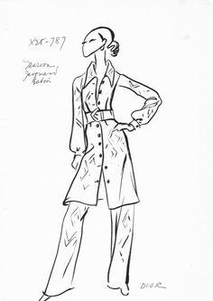 House of Christian Dior Original Vintage Fashion Sketch Stat Sheet 787