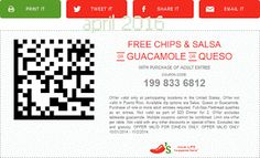 Chilis coupons & Chilis promo code inside The Coupons App. Free chips & guacamole, queso or salsa with your entree at Chilis April Grocery Coupons, Shopping Coupons, Free Printable Coupons, Free Printables, Chilis Coupons, Guacamole Chips, Coupons For Boyfriend, Casual Restaurants, Chips And Salsa