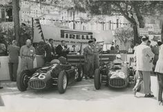 Lancia D50s raced by Alberto Ascari and Luigi Villoresi at Monte Carlo, for the 1955 European Grand Prix. Ascari would soon be dead, killed while practicing in a friend's Ferrari at Monza.
