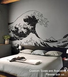 This wall decal of The Great Wave off Kanagawa by Japanese artist Hokusai measures over eleven feet wide