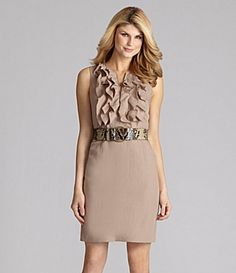 From the Antonio Melani Western Sunset collection, the Estelle women's dress complements your figure with a ruffle-front bodice and snake-print belt. Neutral in oak tan, the sleeveless style boasts desk-to-dinner versatility.  split neckline  ruffled bodice  straight skirt  linen/Tencel®  Only at Dillard's. Imported.