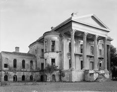 Front of Belle Grove , one of the grandest plantation homes ever to exist. Built in Iberville Parish, Louisiana between 1852-1857 for the cost of $80,000, it is said to be the largest mansion ever built in the South. Abandoned in 1925.