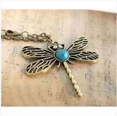 Brand New Beautiful Dragonfly Pendant Necklace Vintage FREE SHIPPING from $4.95