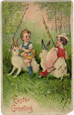 Easter Greeting Fantasy Children Riding Rabbits Jousting Vintage Postcard | eBay