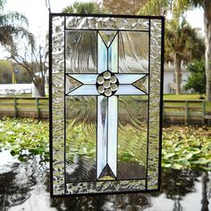 stained glass cross | Cross Stained Glass Panel with Iridescent and Beveled Glass - Studio ...