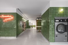 Self Service Laundry / stu.dere + Civiurban Self Service Laundry, Agi Architects, Washing Machine Drum, Portugal, Design Simples, Prefab Cabins, Glazed Tiles, R80, Lounge Areas