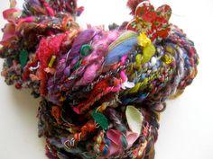 handspun art yarn, Henry Darger: the Vivian Girls explore the colorful garden #knitting #yarn https://www.etsy.com/listing/125056881/handspun-art-yarn-henry-darger-the?