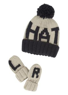 Hat' Text Hat And Mitt Set