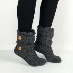 Hey, I found this really awesome Etsy listing at https://www.etsy.com/listing/185114216/womens-crochet-dark-gray-slipper-boots