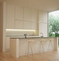 Modern white kitchen render