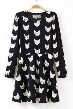 Cats' Head Printing Long Sleeves Dress - 6ks.com
