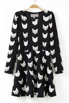 Cats' Head Printing Long Sleeves Dress - 6ks.com