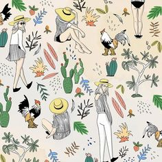 So...... Roosters and boat hats go together right?!! 🌵 #pattern #rooster #fashion #illustration #funsketch #cactus #artistsoninstagram #sketch #designxiety