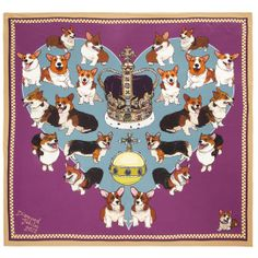 Commemorative Queen scarf with corgis