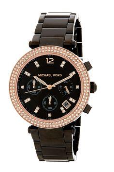 77d8c05fa4f28 Michael Kors Rose Black New Mk Women s Parker 39mm Boyfriend Style Gold  Mk5885 Watch 42% off retail