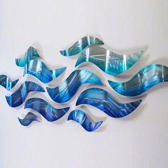 Metal Sculpture Wall Art large metal wall sculpture modern abstract art blue wave painting
