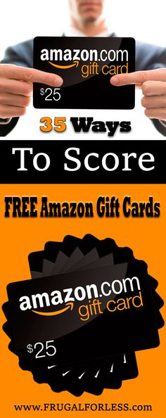 Read on for 35 ways to score free Amazon gift cards. Frugal Living | Make Money | Save Money | Side Hustle | Free Amazon Gift Card | Free Amazon Gift Card Codes | Surveys For Money | Surveys That Pay.