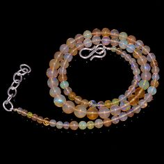 "51CRTS 3to6.5MM 18""ETHIOPIAN OPAL ROUND  BEAUTIFUL BEADS NECKLACE OBI1127 #OPALBEADSINDIA"