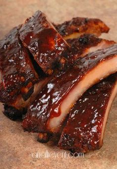 Slow Cooker Barbecue Ribs.  The key is adding plenty of salt and basting with BBQ sauce before serving.  Great summer meal when rain threatens your ability to grill! @anallievent