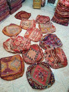 Moroccan poufs vintage carpet hassocks moroccan hassocks