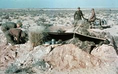 Soldiers of the Deutsches Afrikakorps (DAK) making a small trench as their home in the desert. They used Zeltbahn as cover and camouflage from the air and distance. Photo taken by General Erwin Rommel during his Campaign in North Africa, 1941
