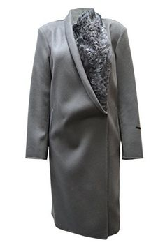 """MARINA RINALDI Italian Sz 21 This handmade coat has a fold over shawl collar w/ lamb fur trim on left side, hidden snap front fastening, slanted hand slip pockets w/ ribbon tape trim, long sleeves, vertical back seam, unlined. Chest: 48"""" Waist: 46"""" Hips: 48"""" Sleeve L: 25.5""""...  More details at https://jackets-lovers.bestselleroutlets.com/ladies-coats-jackets-vests/wool-pea-coats/product-review-for-marina-rinaldi-womens-lamb-fur-trim-wool-cashmere-coat-sz"""