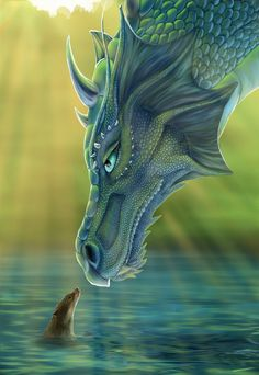 The Dragon and the Water Fox. Fantasy -- Using these colors and if you could make a texture like that of the dragon that would make an awesome Fantasy project! Water Dragon, Blue Dragon, Sea Dragon, Dragon Face, Emerald Dragon, Dragon Book, Fantasy Kunst, Fantasy Art, Dragon Medieval