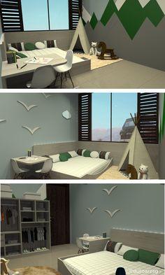Proposta de quarto no estilo montessoriano (a pedidos dos pais) para gêmeos na casa de praia da família.