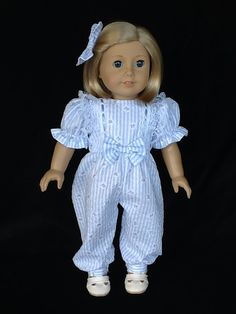 18 inch doll rompers and hair clip. Fits American Girl dolls. Blue striped seersucker  print.