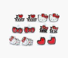 Hello Kitty Earrings Set of 6: Love
