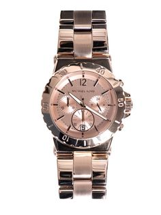 MICHAEL KORS WATCHES - Rose-gold triple chronograph watch.
