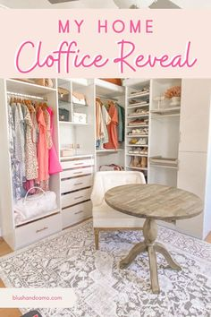 A cloffice is a closet and office space combined and it is an amazing idea for making a functional space beautiful! I love the clean, white lines of this dream space and you will to! Come on in and get some inspiration for your own perfect space! #closetandoffice #closetideas #homedecor