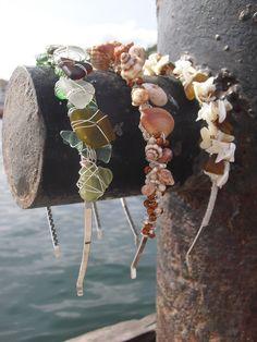 Beach Brides Sea Glass and Shell Headband Tiaras.