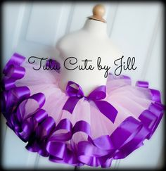 Sewn, Pink Tutu With Dark Purple Satin Ribbon Trim. Tutu Cute By Jill