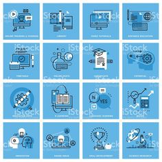 Set of thin line concept icons of distance education - Illustration
